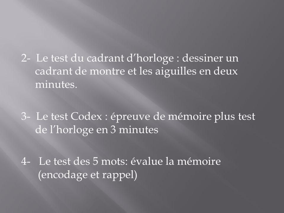 2- Le test du cadrant dhorloge : dessiner un cadrant de montre et les aiguilles en deux minutes. 3- Le test Codex : épreuve de mémoire plus test de lh