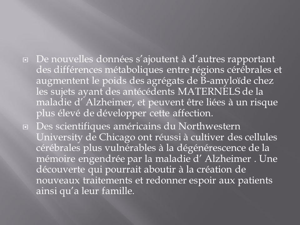 De nouvelles données sajoutent à dautres rapportant des différences métaboliques entre régions cérébrales et augmentent le poids des agrégats de B-amy