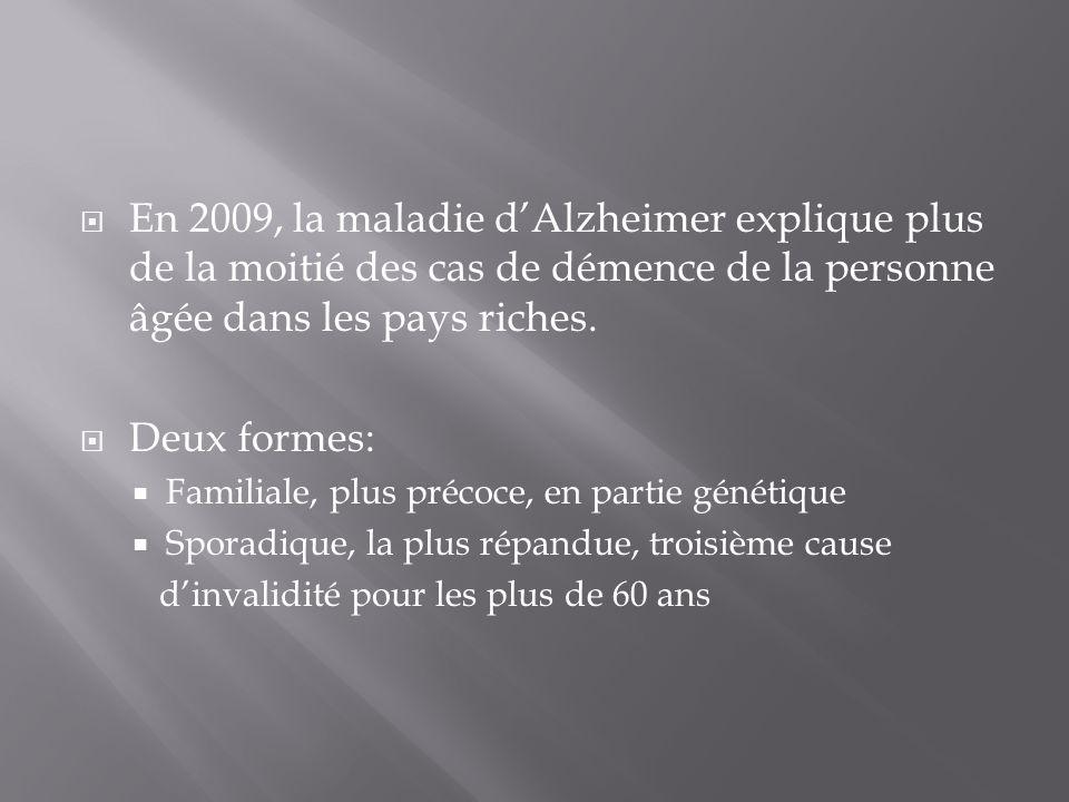 En 2009, la maladie dAlzheimer explique plus de la moitié des cas de démence de la personne âgée dans les pays riches. Deux formes: Familiale, plus pr