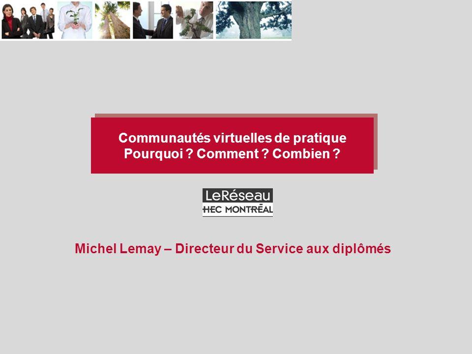 Communautés virtuelles de pratique Pourquoi . Comment .