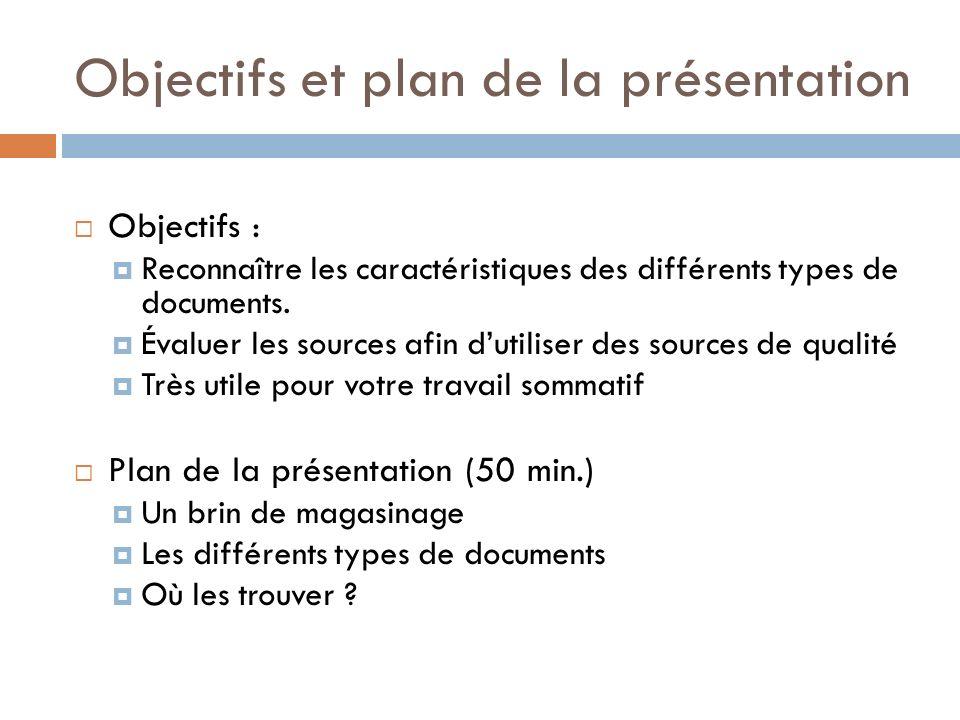 Objectifs et plan de la présentation Objectifs : Reconnaître les caractéristiques des différents types de documents.