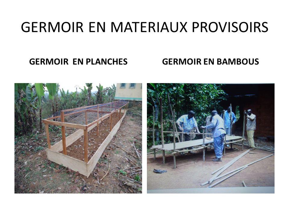 1 - NORMES DE CONSTRUCTION : GERMOIR,CHASSIS ET OMBRIERE a) germoir hauteur : 35 – 40 cm largeur: 100 - 150 cm sol dallé en pente recueillant au centr