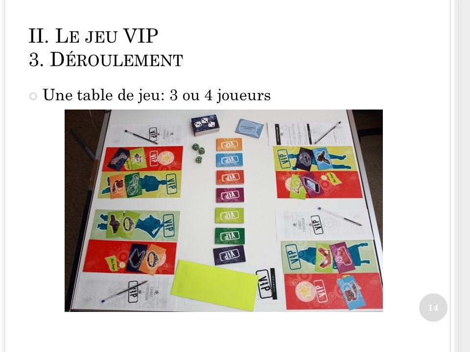 II. L E JEU VIP 3. D ÉROULEMENT Une table de jeu: 3 ou 4 joueurs 14