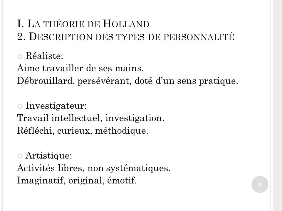 I.L A THÉORIE DE H OLLAND 2.