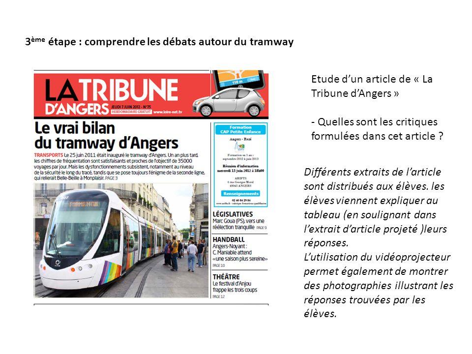 3 ème étape : comprendre les débats autour du tramway Etude dun article de « La Tribune dAngers » - Quelles sont les critiques formulées dans cet article .