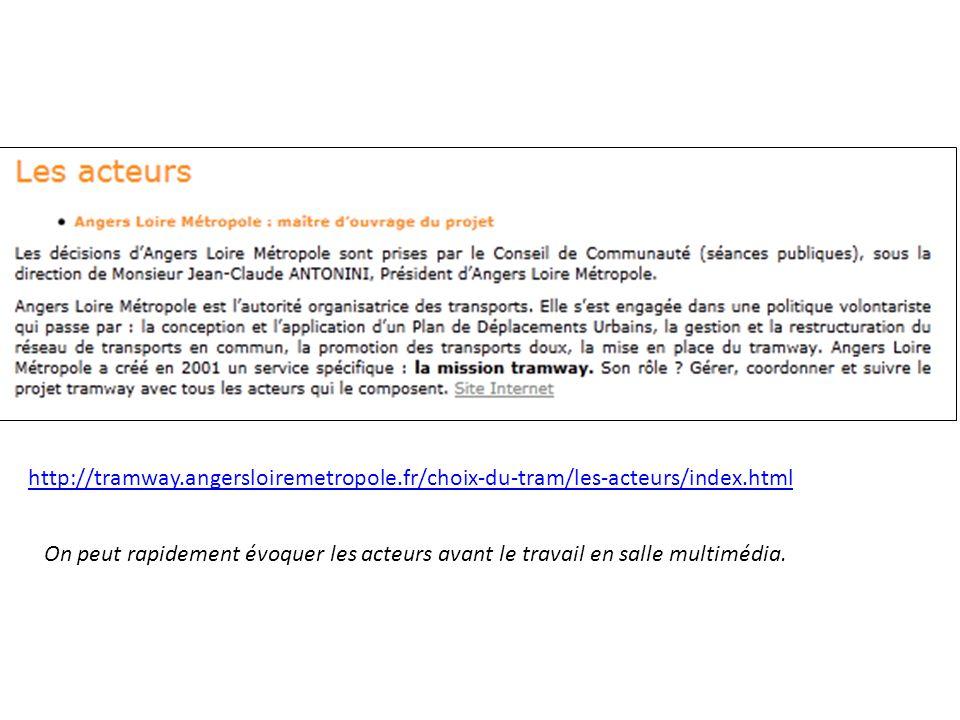 http://tramway.angersloiremetropole.fr/choix-du-tram/les-acteurs/index.html On peut rapidement évoquer les acteurs avant le travail en salle multimédia.