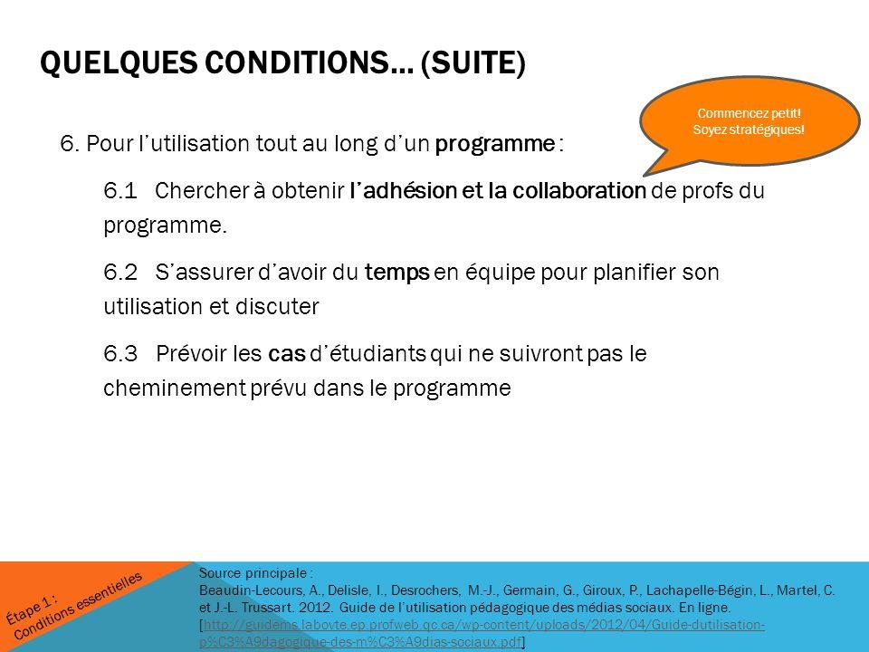QUELQUES CONDITIONS… (SUITE) 6.