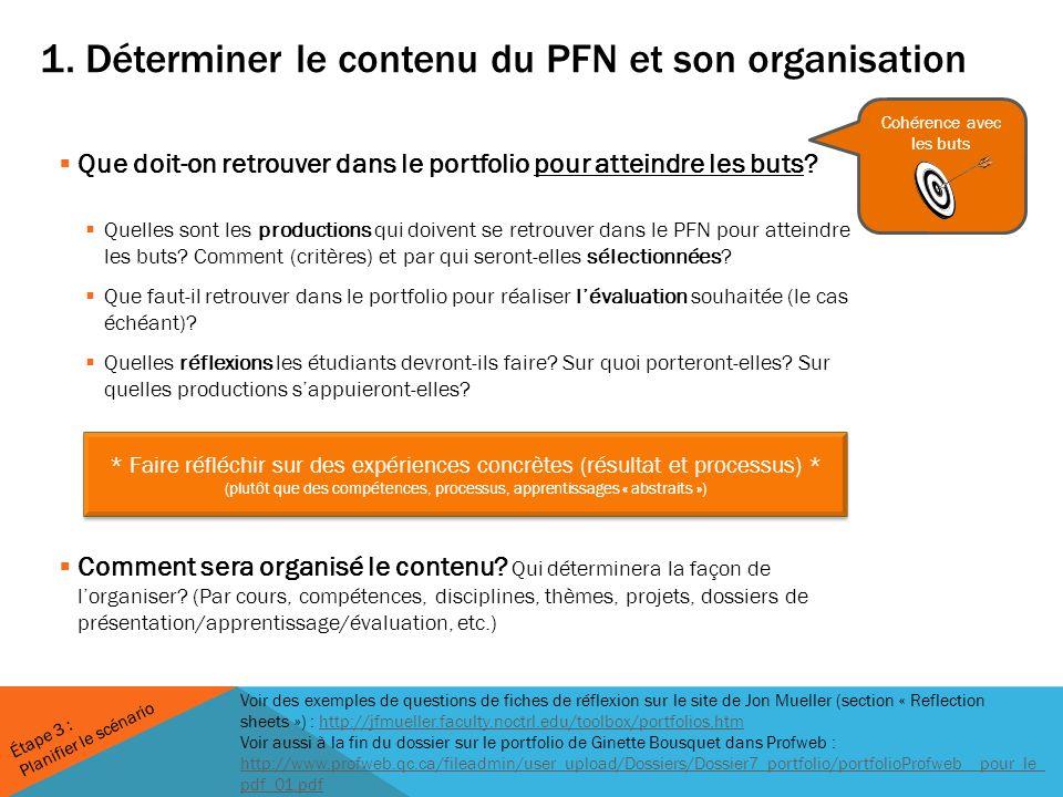 1. Déterminer le contenu du PFN et son organisation Que doit-on retrouver dans le portfolio pour atteindre les buts? Quelles sont les productions qui