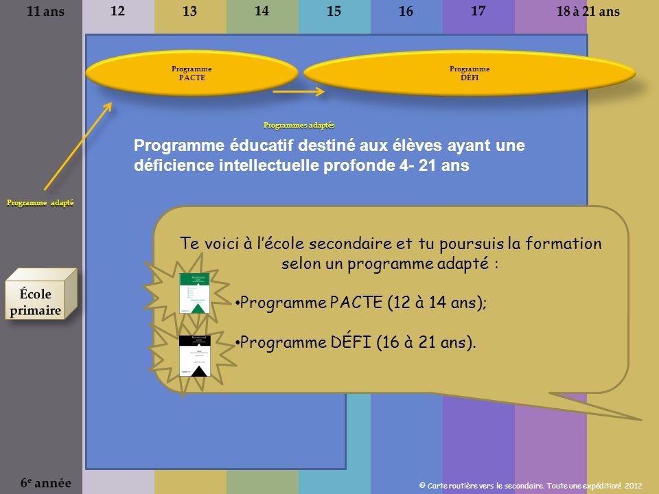 Te voici à lécole secondaire et tu poursuis la formation selon un programme adapté : Programme PACTE (12 à 14 ans); Programme DÉFI (16 à 21 ans).