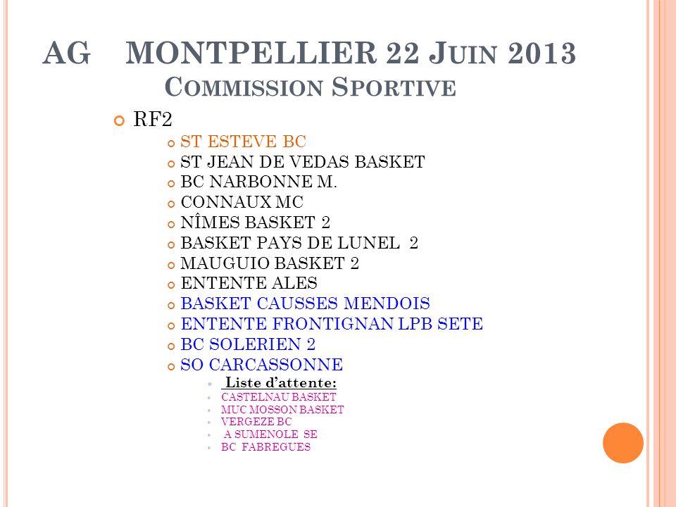 AG MONTPELLIER 22 J UIN 2013 C OMMISSION S PORTIVE RF2 ST ESTEVE BC ST JEAN DE VEDAS BASKET BC NARBONNE M.