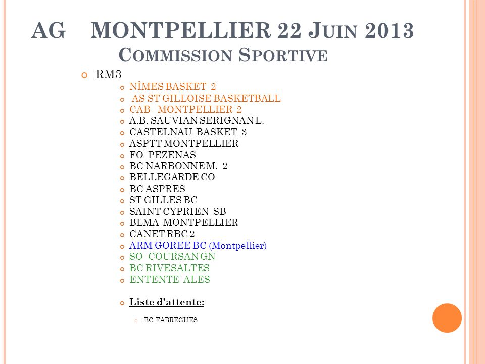AG MONTPELLIER 22 J UIN 2013 C OMMISSION S PORTIVE RM3 NÎMES BASKET 2 AS ST GILLOISE BASKETBALL CAB MONTPELLIER 2 A.B.