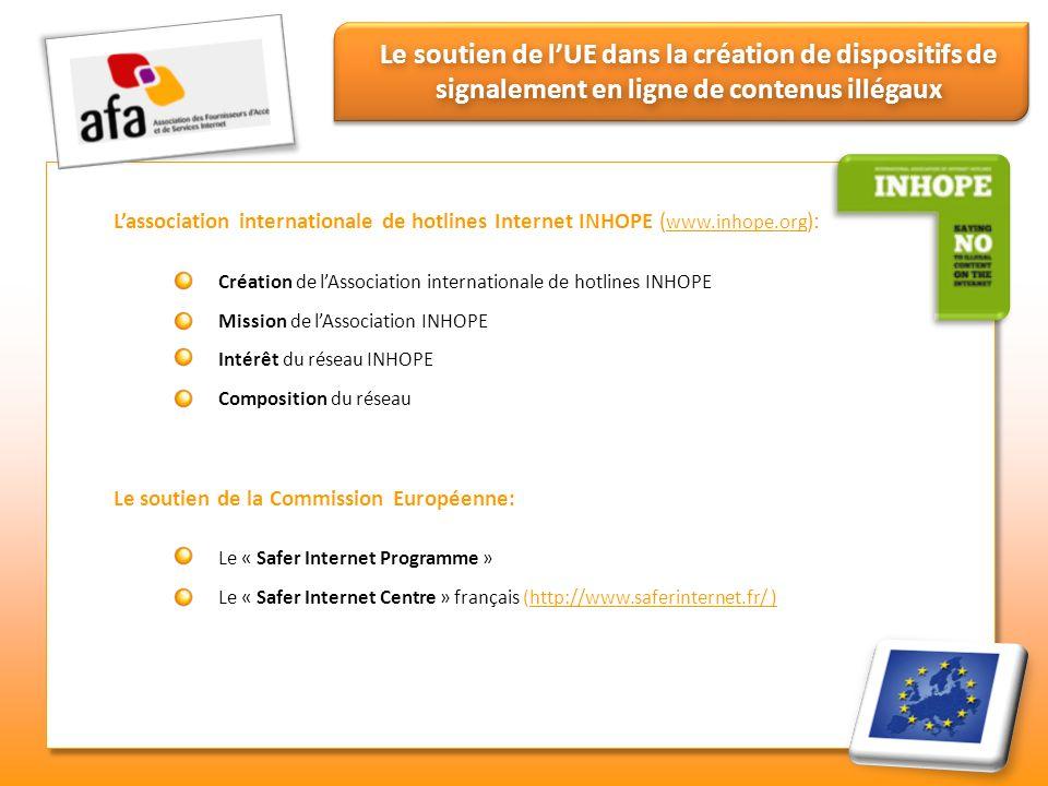 Le soutien de lUE dans la création de dispositifs de signalement en ligne de contenus illégaux Lassociation internationale de hotlines Internet INHOPE