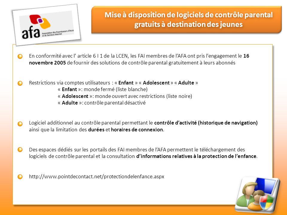 Mise à disposition de logiciels de contrôle parental gratuits à destination des jeunes En conformité avec l article 6 I 1 de la LCEN, les FAI membres