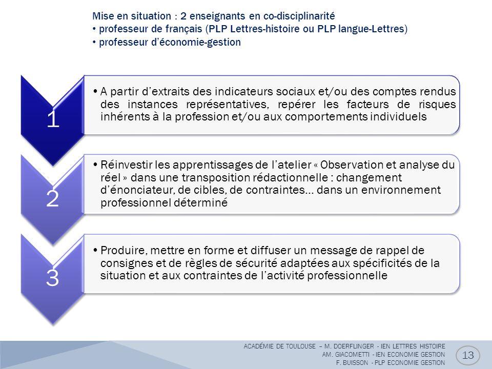 Mise en situation : 2 enseignants en co-disciplinarité professeur de français (PLP Lettres-histoire ou PLP langue-Lettres) professeur déconomie-gestion 13 ACADÉMIE DE TOULOUSE – M.