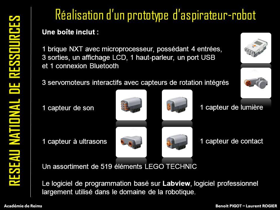 Une boîte inclut : 1 brique NXT avec microprocesseur, possédant 4 entrées, 3 sorties, un affichage LCD, 1 haut-parleur, un port USB et 1 connexion Blu