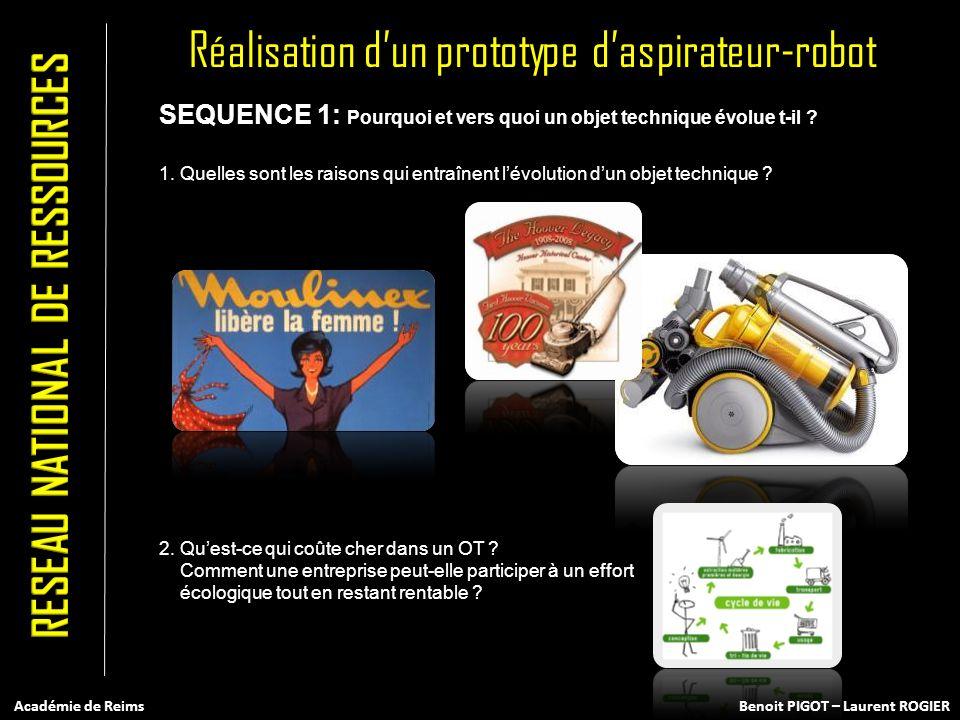 Réalisation dun prototype daspirateur-robot SEQUENCE 1: Pourquoi et vers quoi un objet technique évolue t-il ? 1. Quelles sont les raisons qui entraîn