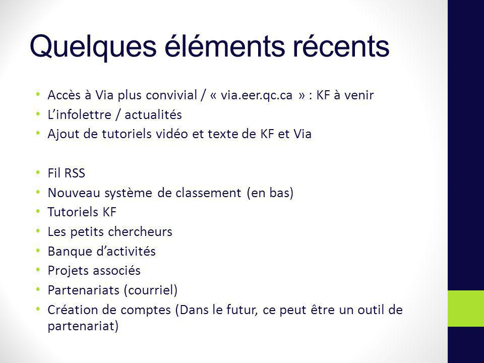 Quelques éléments récents Accès à Via plus convivial / « via.eer.qc.ca » : KF à venir Linfolettre / actualités Ajout de tutoriels vidéo et texte de KF