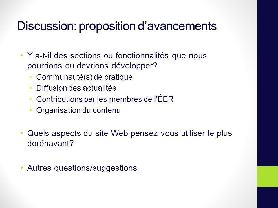 Discussion: proposition davancements Y a-t-il des sections ou fonctionnalités que nous pourrions ou devrions développer? Communauté(s) de pratique Dif