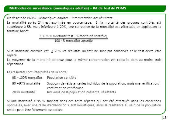 Méthodes de surveillance (moustiques adultes) – Kit de test de lOMS 13 Kit de test de lOMS – Moustiques adultes – Interprétation des résultats: La mor