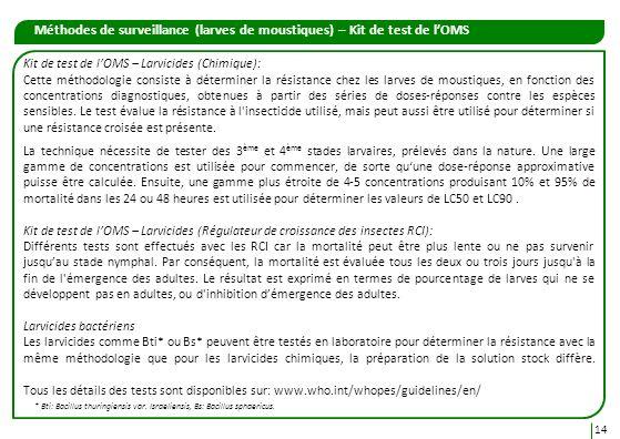 Méthodes de surveillance (larves de moustiques) – Kit de test de lOMS 14 Kit de test de lOMS – Larvicides (Chimique): Cette méthodologie consiste à dé