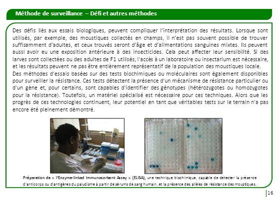 Méthode de surveillance – Défi et autres méthodes 16 Des défis liés aux essais biologiques, peuvent compliquer linterprétation des résultats. Lorsque