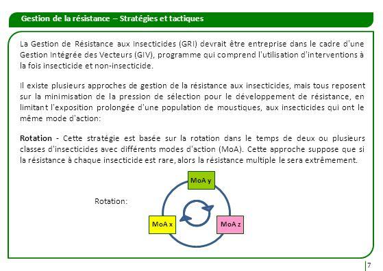 Gestion de la résistance – Stratégies et tactiques 8 Mélanges – Un mélange est une formulation unique contenant deux ou plusieurs insecticides, ou des formulations dinsecticides différentes.