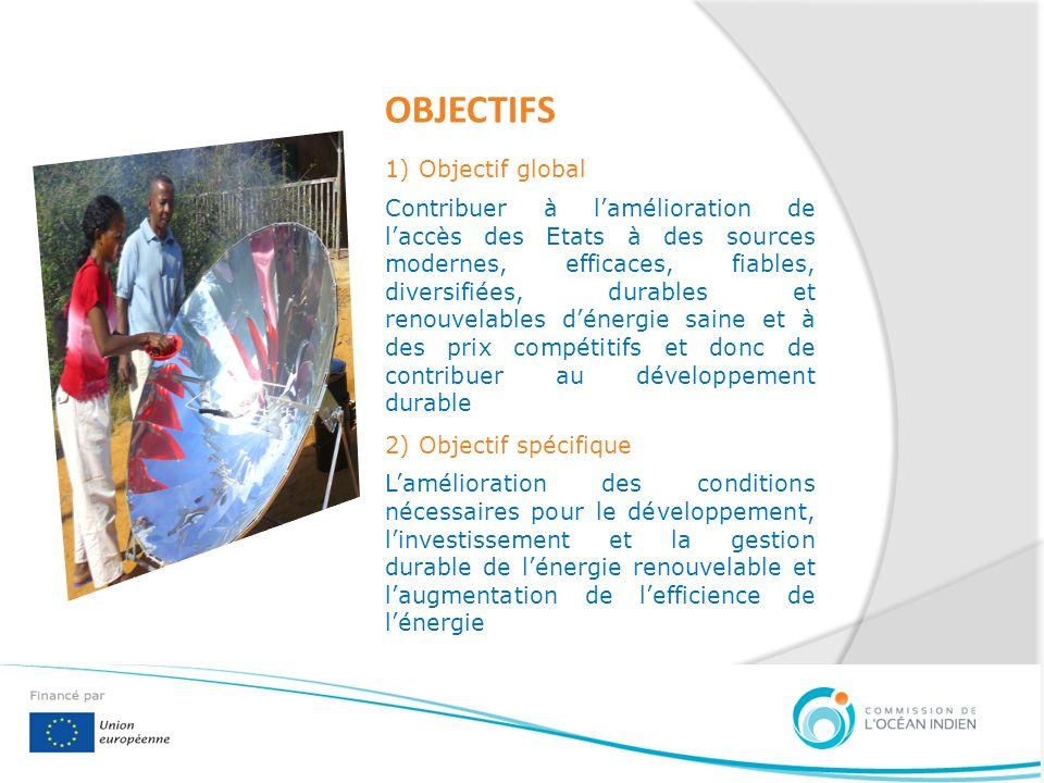 OBJECTIFS 1) Objectif global Contribuer à lamélioration de laccès des Etats à des sources modernes, efficaces, fiables, diversifiées, durables et reno