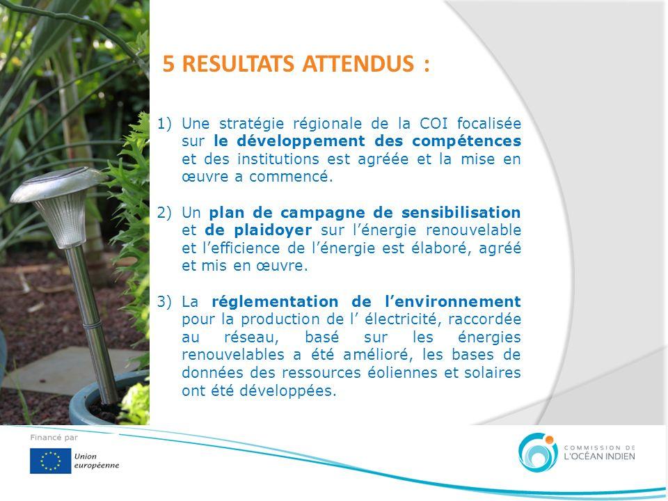 5 RESULTATS ATTENDUS : 1)Une stratégie régionale de la COI focalisée sur le développement des compétences et des institutions est agréée et la mise en