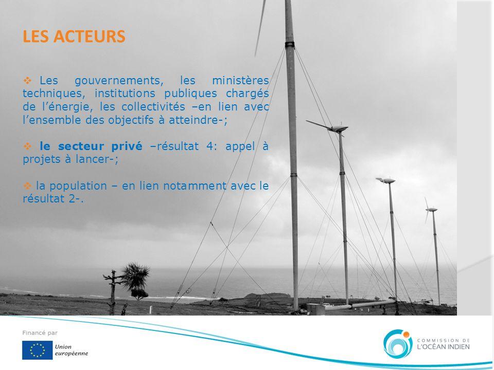 LES ACTEURS Les gouvernements, les ministères techniques, institutions publiques chargés de lénergie, les collectivités –en lien avec lensemble des ob