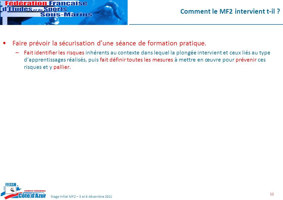 Stage initial MF2 – 3 et 4 décembre 2011 Comment le MF2 intervient t-il .