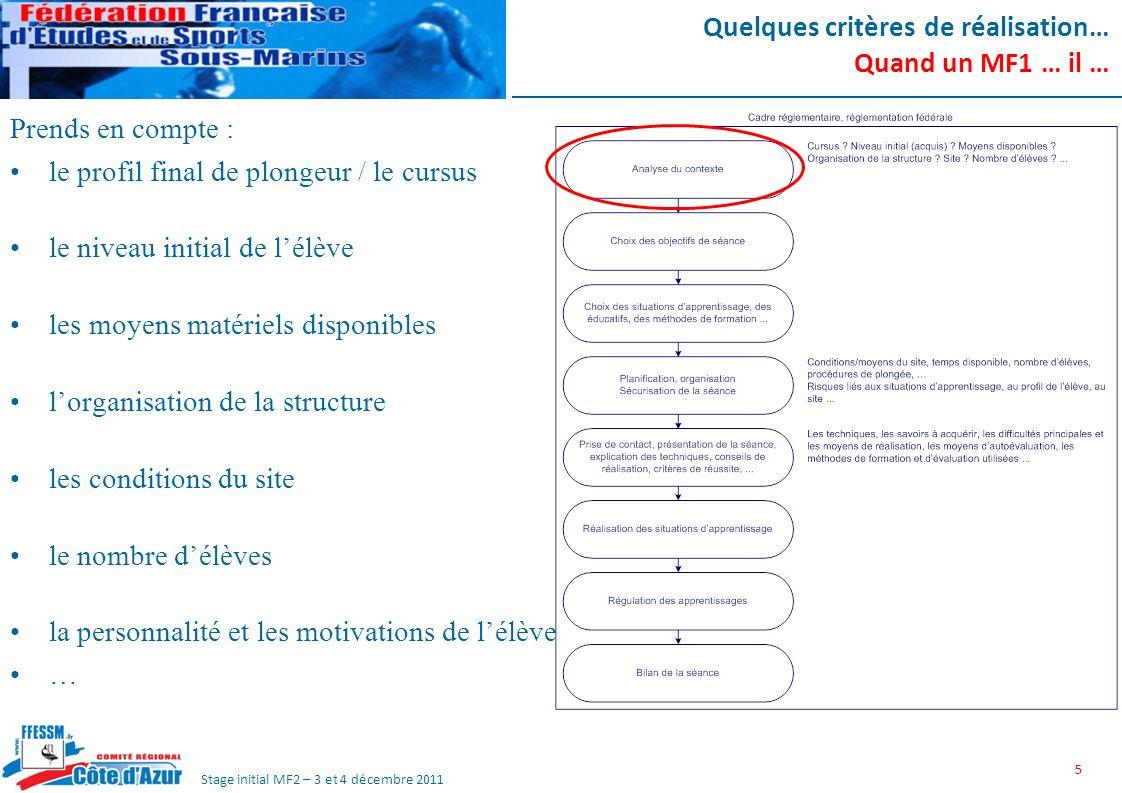 Stage initial MF2 – 3 et 4 décembre 2011 Quelques critères de réalisation… Quand un MF1 … il … Identifie les pré-requis Choisit des outils et méthodes adaptés Etablit une notion de progression si nécessaire 6