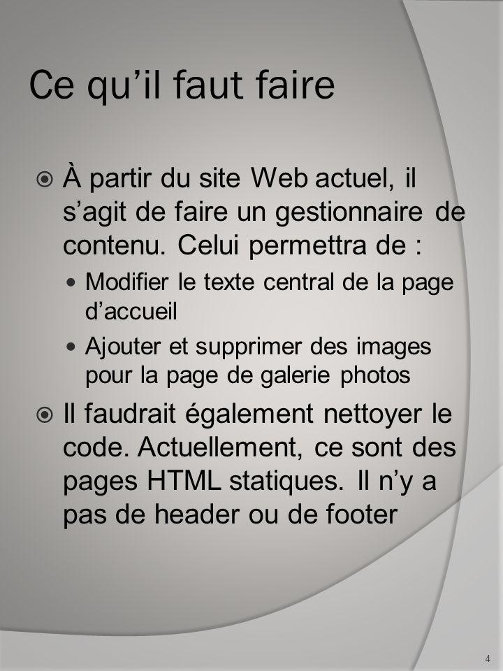 Laboratoire en 2 étapes Ce laboratoire se fait en 2 étapes Faire la version de base du CMS, permettant de se connecter et de faire la modification du texte central de la page daccueil.