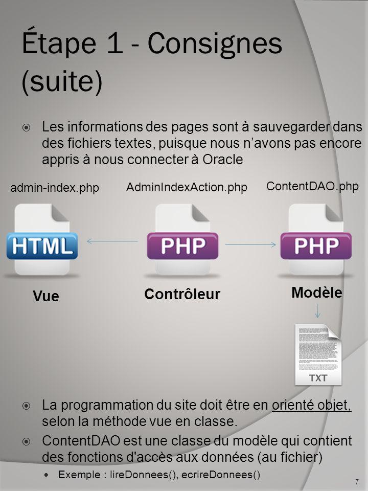 Étape 1 - Consignes (suite) Les informations des pages sont à sauvegarder dans des fichiers textes, puisque nous navons pas encore appris à nous connecter à Oracle La programmation du site doit être en orienté objet, selon la méthode vue en classe.
