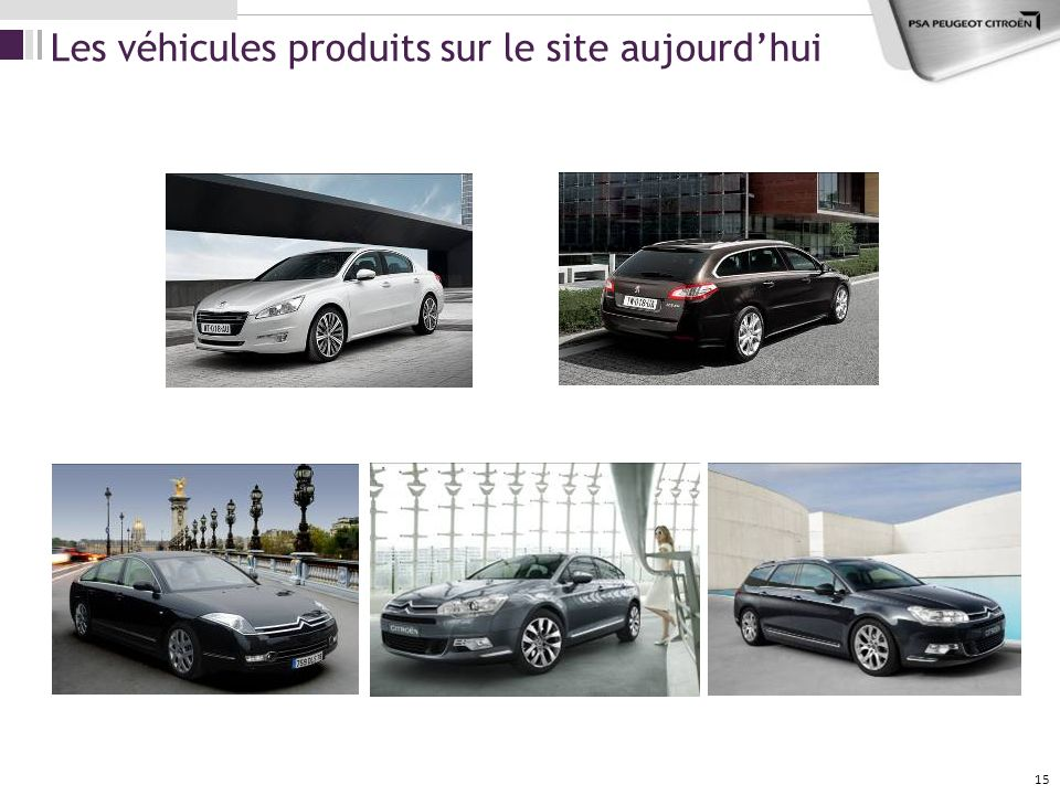 15 Les véhicules produits sur le site aujourdhui