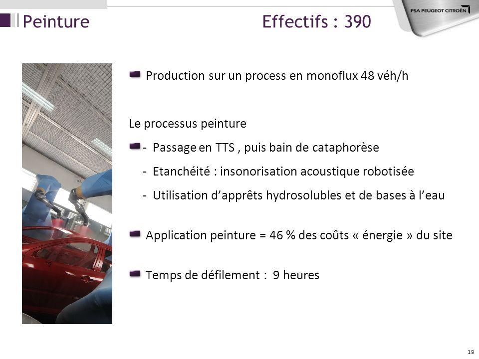 19 Production sur un process en monoflux 48 véh/h Le processus peinture - Passage en TTS, puis bain de cataphorèse - Etanchéité : insonorisation acous