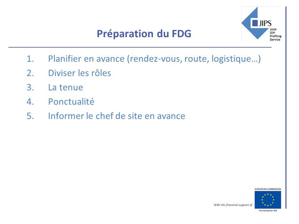Préparation du FDG 1.Planifier en avance (rendez-vous, route, logistique…) 2.Diviser les rôles 3.La tenue 4.Ponctualité 5.Informer le chef de site en avance