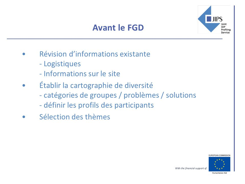 Avant le FGD Révision dinformations existante - Logistiques - Informations sur le site Établir la cartographie de diversité - catégories de groupes / problèmes / solutions - définir les profils des participants Sélection des thèmes