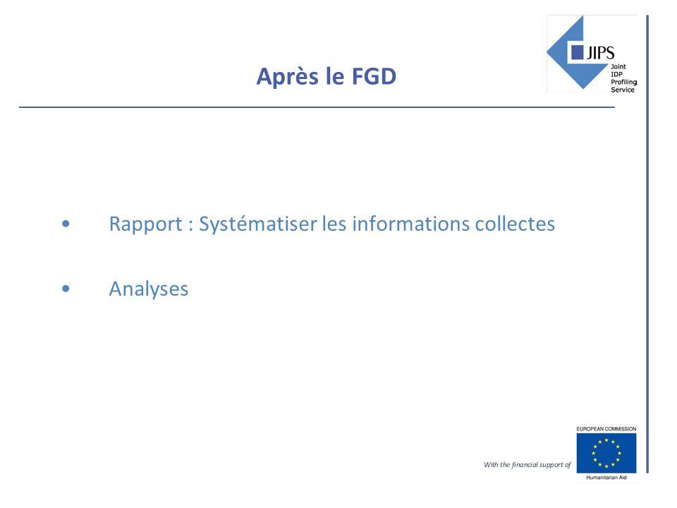Après le FGD Rapport : Systématiser les informations collectes Analyses