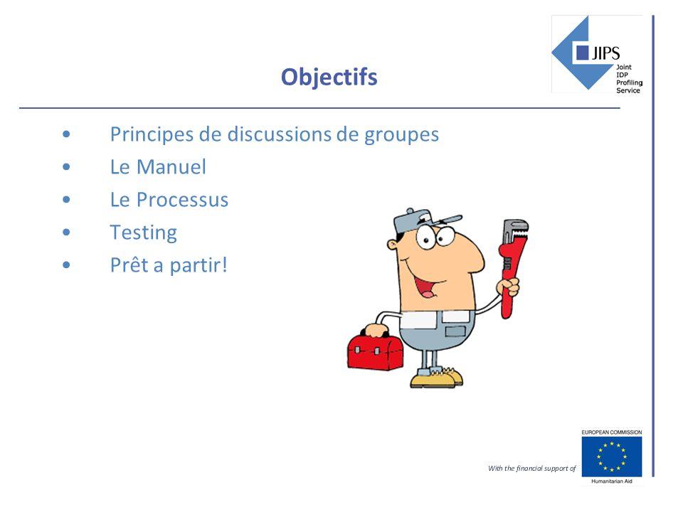 Objectifs Principes de discussions de groupes Le Manuel Le Processus Testing Prêt a partir!