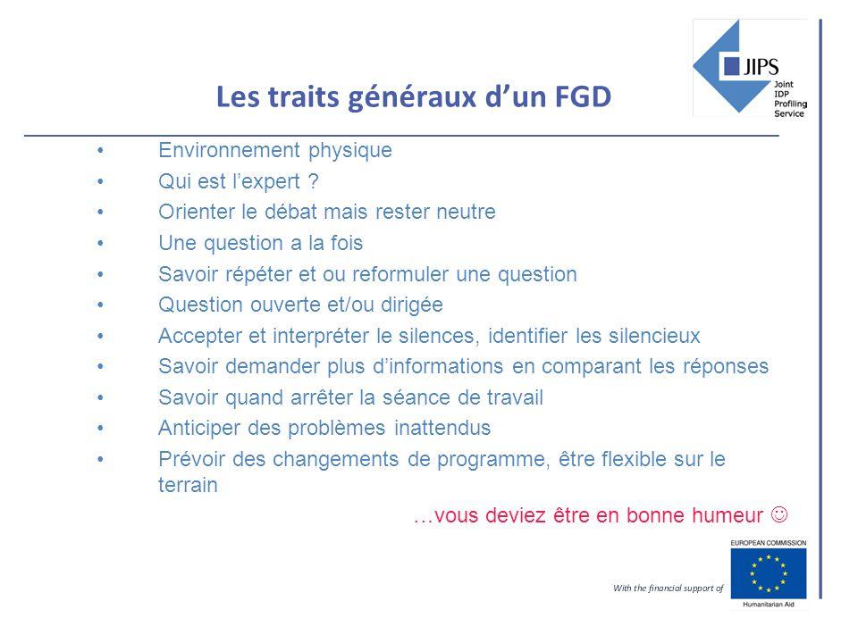 Les traits généraux dun FGD Environnement physique Qui est lexpert .