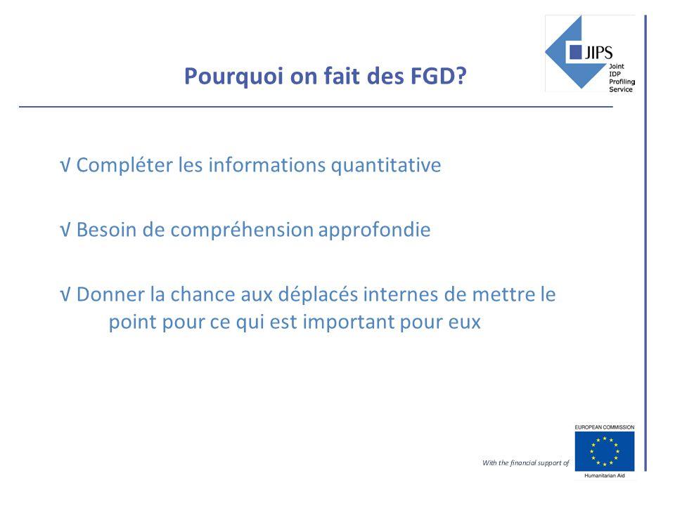 Pourquoi on fait des FGD.