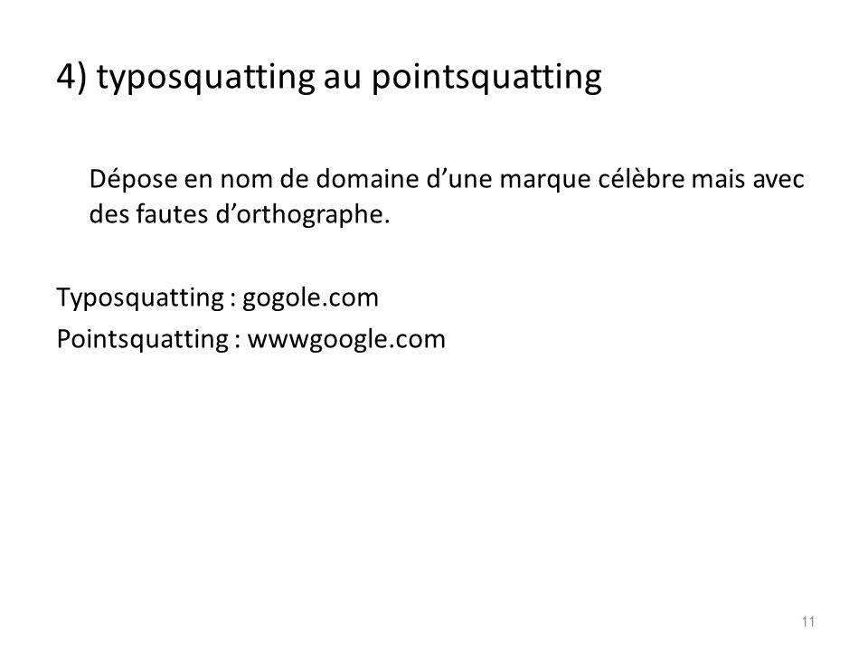 4) typosquatting au pointsquatting Dépose en nom de domaine dune marque célèbre mais avec des fautes dorthographe. Typosquatting : gogole.com Pointsqu