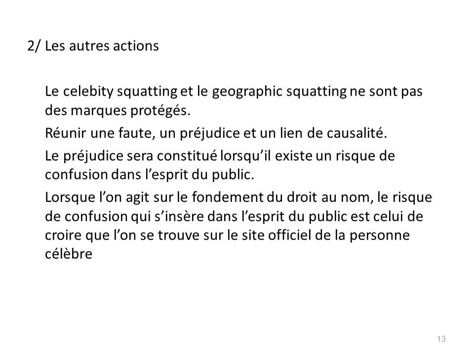 2/ Les autres actions Le celebity squatting et le geographic squatting ne sont pas des marques protégés. Réunir une faute, un préjudice et un lien de