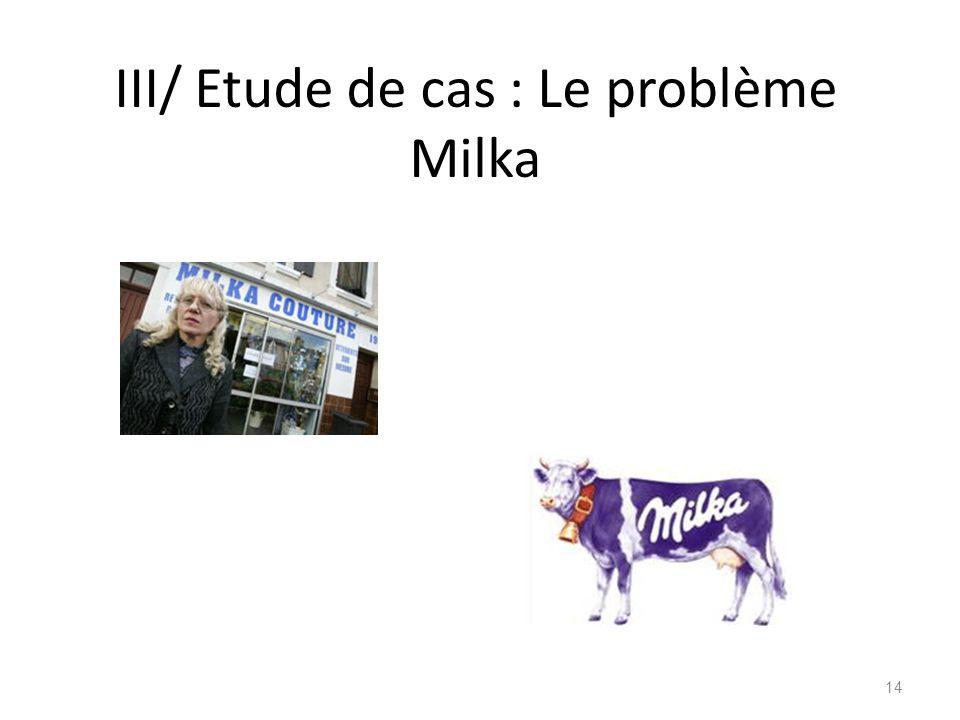 III/ Etude de cas : Le problème Milka 14