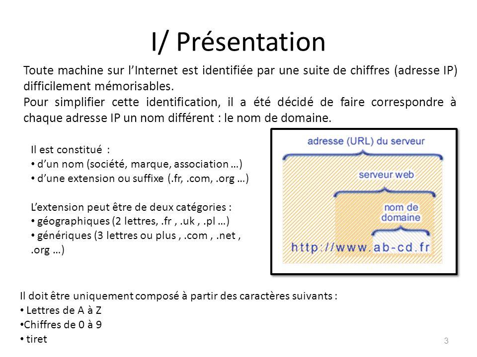 I/ Présentation Il est constitué : dun nom (société, marque, association …) dune extension ou suffixe (.fr,.com,.org …) Lextension peut être de deux c