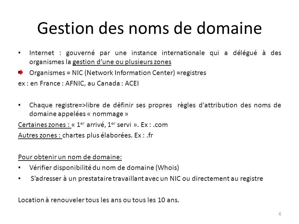 Gestion des noms de domaine Internet : gouverné par une instance internationale qui a délégué à des organismes la gestion dune ou plusieurs zones Orga