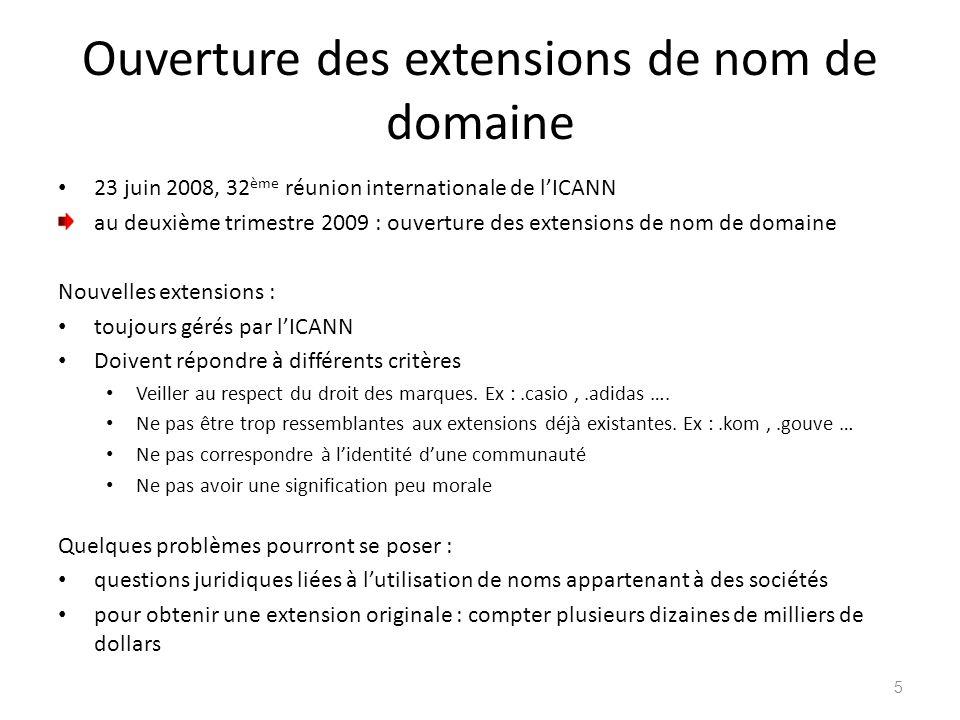 Ouverture des extensions de nom de domaine 23 juin 2008, 32 ème réunion internationale de lICANN au deuxième trimestre 2009 : ouverture des extensions
