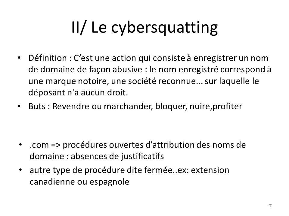 II/ Le cybersquatting Définition : Cest une action qui consiste à enregistrer un nom de domaine de façon abusive : le nom enregistré correspond à une