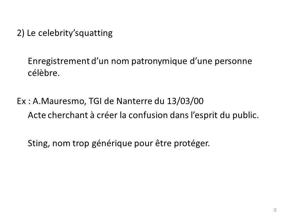 2) Le celebritysquatting Enregistrement dun nom patronymique dune personne célèbre. Ex : A.Mauresmo, TGI de Nanterre du 13/03/00 Acte cherchant à crée