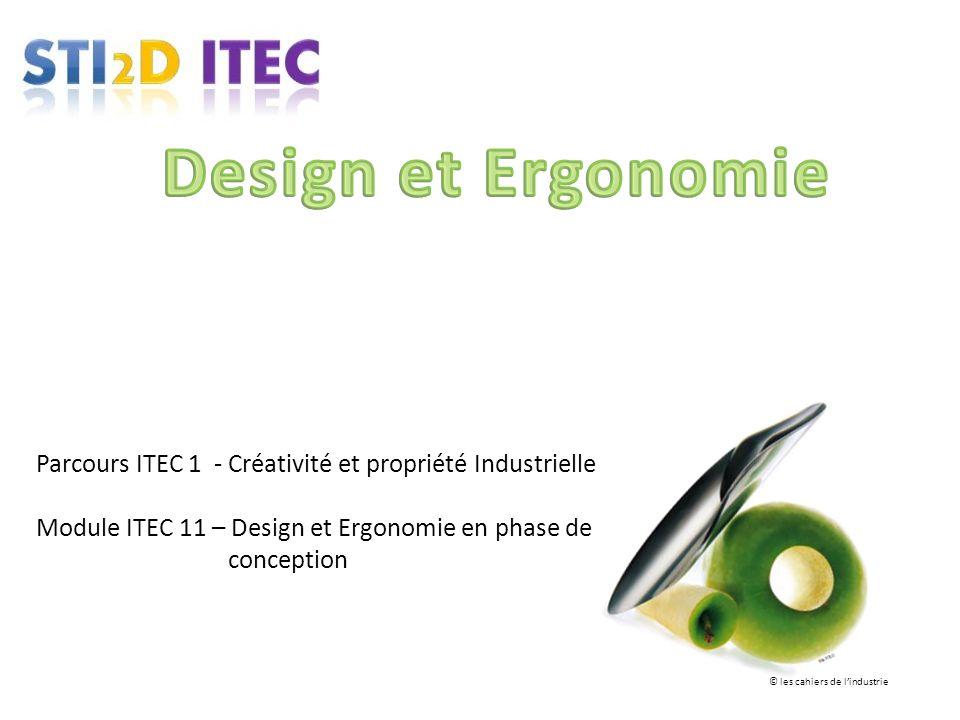 Parcours ITEC 1 - Créativité et propriété Industrielle Module ITEC 11 – Design et Ergonomie en phase de conception © les cahiers de lindustrie